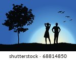 Man And Girl Standing On Hill...