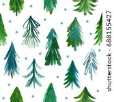 seamless pattern with christmas ... | Shutterstock . vector #688155427