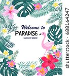 a tropical card with palm... | Shutterstock .eps vector #688164247