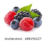 mix berries with leaf | Shutterstock . vector #688196227