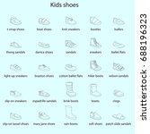 kids shoes  set  collection of... | Shutterstock .eps vector #688196323