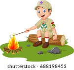 cartoon scout roasting... | Shutterstock .eps vector #688198453