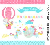happy birthday and baby shower... | Shutterstock .eps vector #688207777