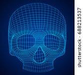 skull wireframe low poly mesh....   Shutterstock .eps vector #688213537