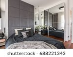 luxurious bedroom with mirrored ... | Shutterstock . vector #688221343