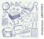 freehand drawing school items... | Shutterstock .eps vector #688229893