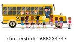 children enter the school bus.... | Shutterstock .eps vector #688234747