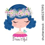 cute girl with flowers.girl... | Shutterstock .eps vector #688237093