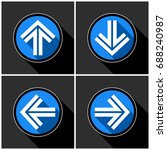 four white  blue arrows with... | Shutterstock .eps vector #688240987