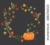 autumn wreath with leaves ...   Shutterstock .eps vector #688256023