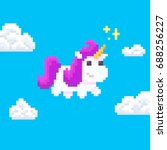 pixel art unicorn with magic... | Shutterstock .eps vector #688256227