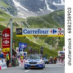 Small photo of COL DU LAUTARET,FRANCE - JUL 19: Technical cars arrive on Col du Lautaret in Hautes Alpes, during the stage 14 of Le Tour de France 2014.