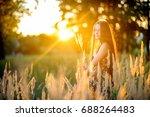 beautiful cheerful girl in the... | Shutterstock . vector #688264483