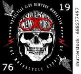 vintage biker skull emblem tee... | Shutterstock .eps vector #688277497