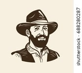 farmer  cowboy logo or label.... | Shutterstock .eps vector #688280287