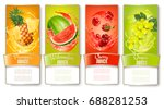 set of labels of of fruit in... | Shutterstock .eps vector #688281253
