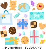 cookies and candy gifts | Shutterstock .eps vector #688307743