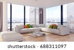 modern bright living room ...   Shutterstock . vector #688311097