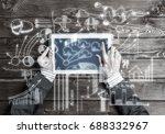 top view of businesswoman... | Shutterstock . vector #688332967