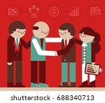 two teams of businesspeople... | Shutterstock .eps vector #688340713