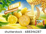 lemon sandwich cookies ad ... | Shutterstock .eps vector #688346287