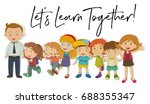 teachers and students with word ... | Shutterstock .eps vector #688355347