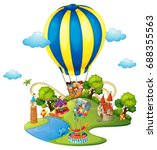 many kids in amusement park... | Shutterstock .eps vector #688355563