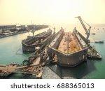 aerial view shipyard have crane ...