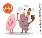 lungs sick from smoke cartoon... | Shutterstock .eps vector #688366297