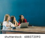 group of asian businesswomen... | Shutterstock . vector #688372093