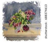watercolor painting. still life ... | Shutterstock . vector #688374613