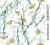 curry plant seamless pattern.... | Shutterstock . vector #688384237