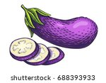 hand drawn eggplant... | Shutterstock .eps vector #688393933