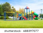 Colorful playground on yard in...