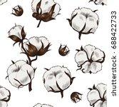 cotton plant . vector seamless... | Shutterstock .eps vector #688422733