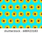 sun flower pattern blue... | Shutterstock . vector #688423183