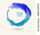 watercolor circle texture. ink... | Shutterstock .eps vector #688425643