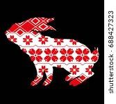 rabbit silhouette  vector ...   Shutterstock .eps vector #688427323
