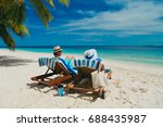 happy couple relax on a... | Shutterstock . vector #688435987