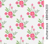 seamless pattern flowers and... | Shutterstock .eps vector #688436203