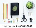artist design tools flat lay on ...   Shutterstock . vector #688437847