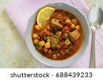 moroccan soup harira with meat  ... | Shutterstock . vector #688439233