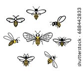 Honey Bee Set. Vector. Set Of...