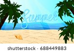 the word summer on the beach... | Shutterstock . vector #688449883