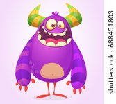 cute cartoon fat monster.... | Shutterstock .eps vector #688451803