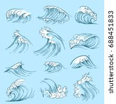 sketch ocean waves. hand drawn... | Shutterstock .eps vector #688451833
