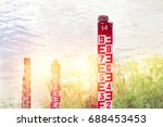 water level marker with numbers ... | Shutterstock . vector #688453453