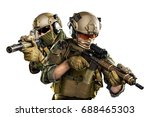 us marine corps soldiers with... | Shutterstock . vector #688465303