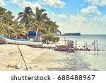 very calm bay with turtle farm... | Shutterstock . vector #688488967