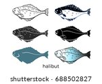 set of sea fish on white... | Shutterstock .eps vector #688502827